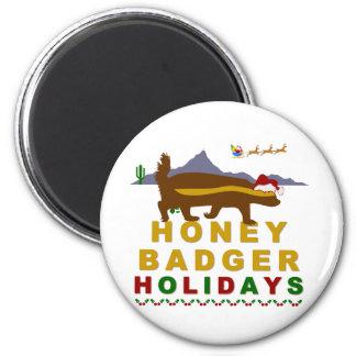 honey badger holidays 2 inch round magnet