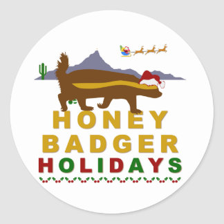 honey badger holidays classic round sticker