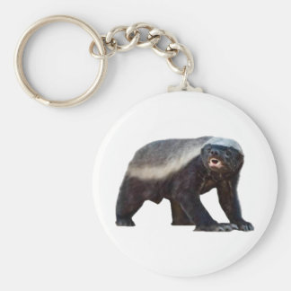 Honey Badger Basic Round Button Keychain