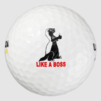 Honey badger, like a boss golf balls