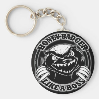 Honey Badger Like A Boss Basic Round Button Keychain