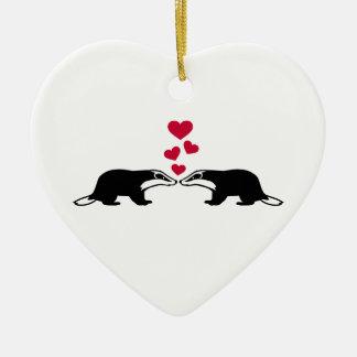 Honey badger love hearts ceramic ornament