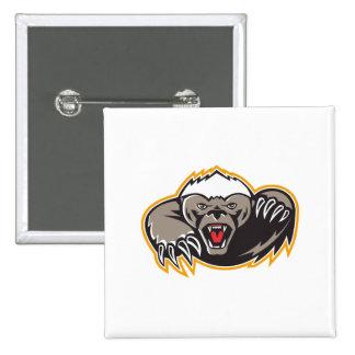 Honey Badger Mascot Claw Pinback Button