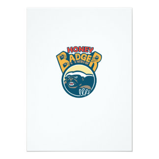Honey Badger Mascot Claw Circle Retro 14 Cm X 19 Cm Invitation Card