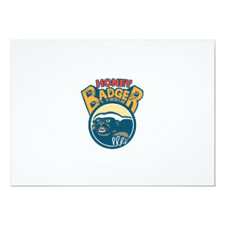 Honey Badger Mascot Claw Circle Retro 13 Cm X 18 Cm Invitation Card
