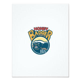 Honey Badger Mascot Claw Circle Retro 11 Cm X 14 Cm Invitation Card