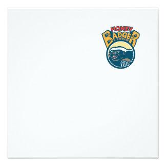 Honey Badger Mascot Claw Circle Retro 13 Cm X 13 Cm Square Invitation Card