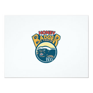Honey Badger Mascot Claw Circle Retro 17 Cm X 22 Cm Invitation Card