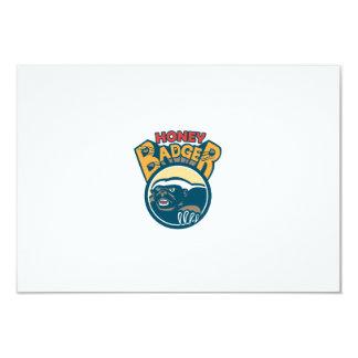 Honey Badger Mascot Claw Circle Retro 9 Cm X 13 Cm Invitation Card