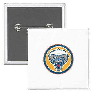 Honey Badger Mascot Head Circle Retro 15 Cm Square Badge