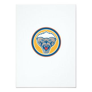 Honey Badger Mascot Head Circle Retro 4.5x6.25 Paper Invitation Card