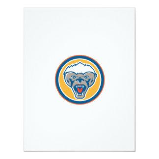 Honey Badger Mascot Head Circle Retro 11 Cm X 14 Cm Invitation Card