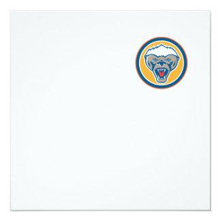 Honey Badger Mascot Head Circle Retro 13 Cm X 13 Cm Square Invitation Card