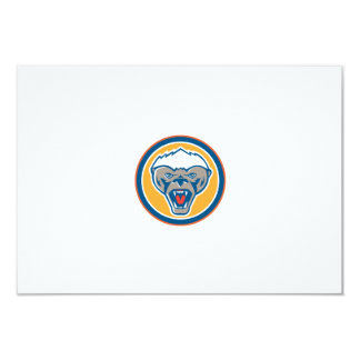 Honey Badger Mascot Head Circle Retro 9 Cm X 13 Cm Invitation Card
