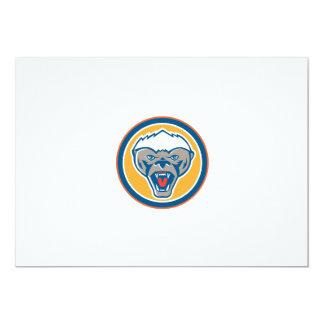 Honey Badger Mascot Head Circle Retro 13 Cm X 18 Cm Invitation Card