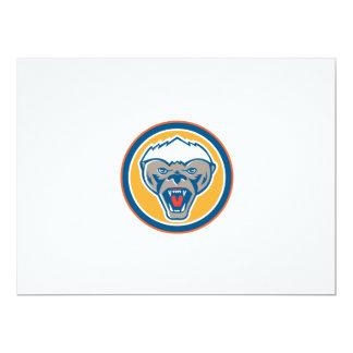 Honey Badger Mascot Head Circle Retro 17 Cm X 22 Cm Invitation Card