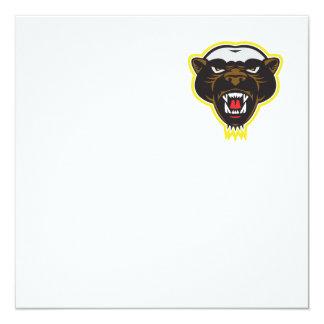 Honey Badger Mascot Head 13 Cm X 13 Cm Square Invitation Card