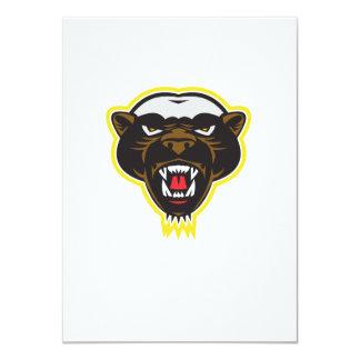 Honey Badger Mascot Head 4.5x6.25 Paper Invitation Card