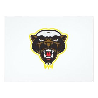 Honey Badger Mascot Head 17 Cm X 22 Cm Invitation Card