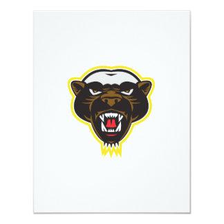 Honey Badger Mascot Head 11 Cm X 14 Cm Invitation Card