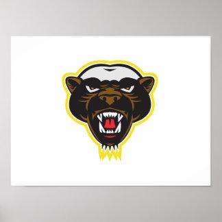 Honey Badger Mascot Head Poster