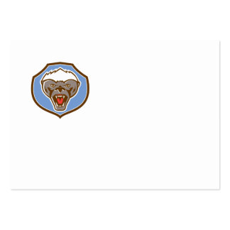 Honey Badger Mascot Head Shield Retro Pack Of Chubby Business Cards