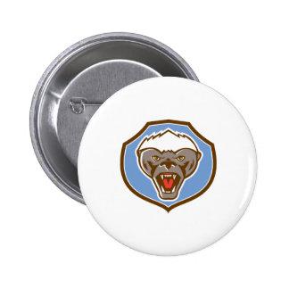 Honey Badger Mascot Head Shield Retro 6 Cm Round Badge