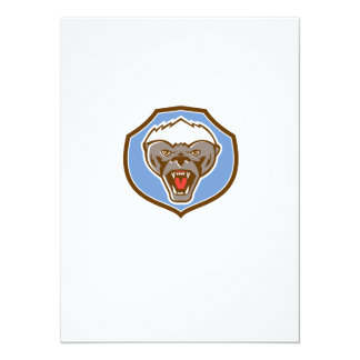 Honey Badger Mascot Head Shield Retro 14 Cm X 19 Cm Invitation Card
