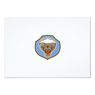 Honey Badger Mascot Head Shield Retro 9 Cm X 13 Cm Invitation Card