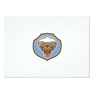 Honey Badger Mascot Head Shield Retro 13 Cm X 18 Cm Invitation Card