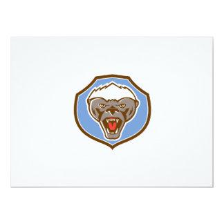 Honey Badger Mascot Head Shield Retro 17 Cm X 22 Cm Invitation Card