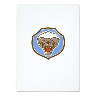 Honey Badger Mascot Head Shield Retro 11 Cm X 16 Cm Invitation Card