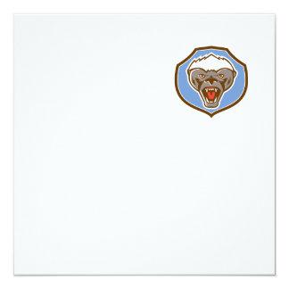Honey Badger Mascot Head Shield Retro 13 Cm X 13 Cm Square Invitation Card