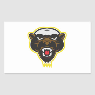 Honey Badger Mascot Head Rectangle Sticker
