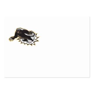 Honey Badger Mascot Jumping Business Card