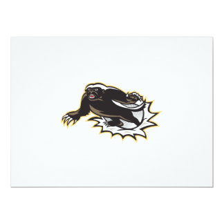 Honey Badger Mascot Jumping 17 Cm X 22 Cm Invitation Card