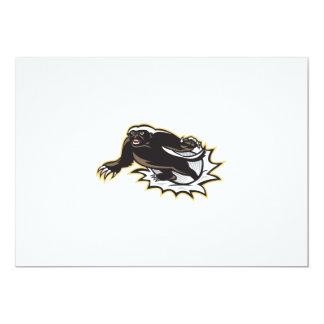 Honey Badger Mascot Jumping 13 Cm X 18 Cm Invitation Card