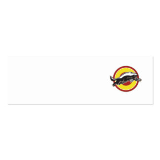 Honey Badger Mascot Leaping Circle Business Card Templates