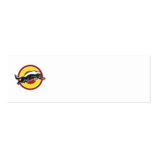 Honey Badger Mascot Leaping Circle Business Card