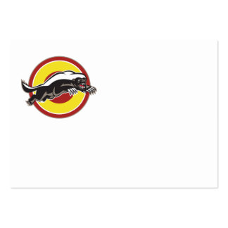 Honey Badger Mascot Leaping Circle Business Card Template