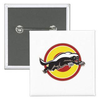 Honey Badger Mascot Leaping Circle Pin