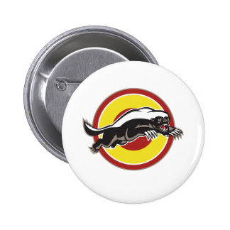 Honey Badger Mascot Leaping Circle Button