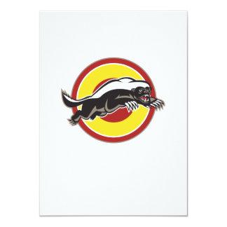 Honey Badger Mascot Leaping Circle 11 Cm X 16 Cm Invitation Card