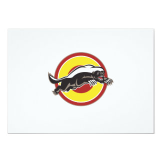 Honey Badger Mascot Leaping Circle 13 Cm X 18 Cm Invitation Card