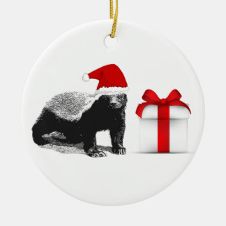 Honey Badger Merry Christmas Ceramic Ornament