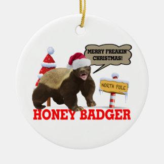 Honey Badger Merry Freakin' Christmas Ceramic Ornament