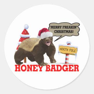 Honey Badger Merry Freakin' Christmas Classic Round Sticker