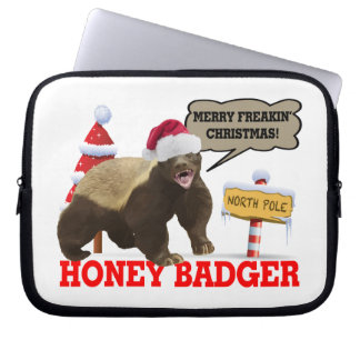 Honey Badger Merry Freakin' Christmas Computer Sleeve