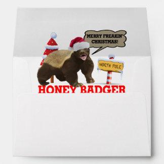 Honey Badger Merry Freakin' Christmas Envelope