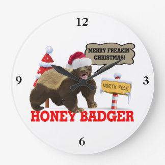 Honey Badger Merry Freakin' Christmas Large Clock